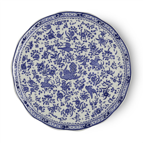 Burleigh Blue Regal Peacock Cake Plate