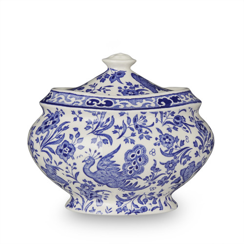 Burleigh Blue Regal Peacock Jam Pot/Covered Sugar Lg