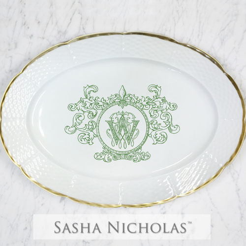 Veal-Weiche Weave 24K Gold Oval Platter