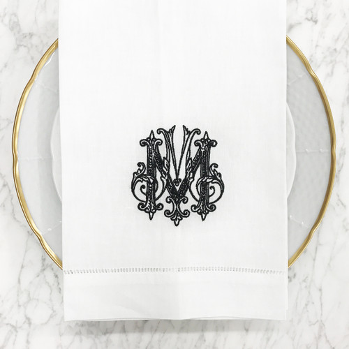 Veal-Weiche White Linen Hand Towel   Couture Monogram - Gray W