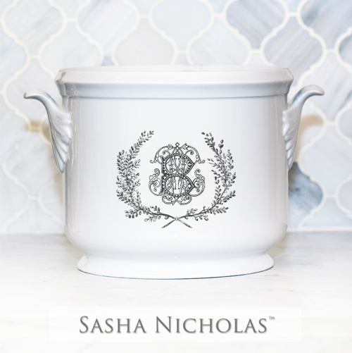 Clark-Bishop Champagne Bucket with Couture Wreath