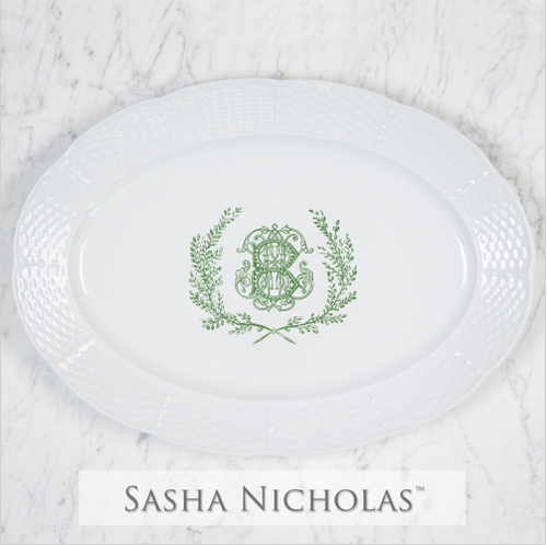 Clark-Bishop Weave Oval Platter With Couture Wreath