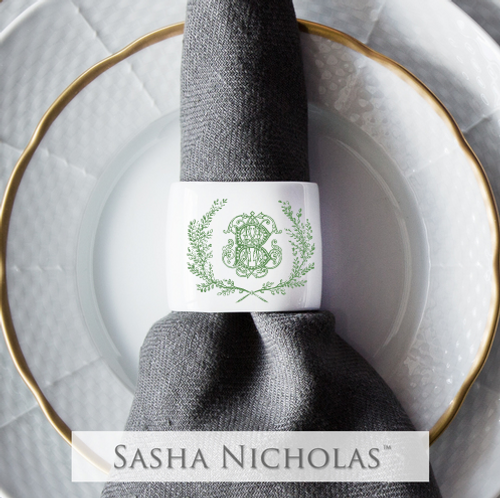 Clark-Bishop Oval Napkin Ring with Couture Wreath