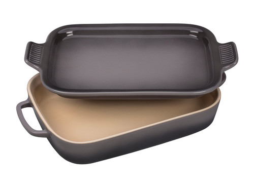 White-Pollnow Le Creuset Rectangular Dish with Platter Lid | Oyster