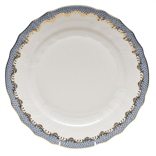 ANDREWS-D'AURIA HEREND FISH SCALE DINNER PLATE, LIGHT BLUE