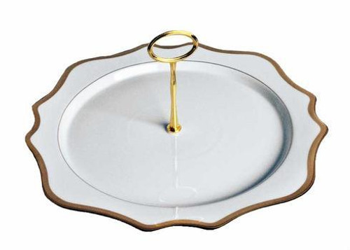 Antique White with Gold Charger Plate Tray