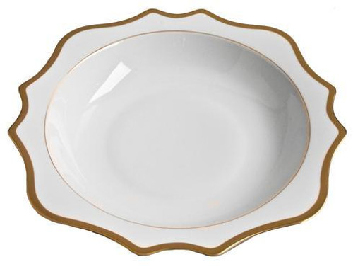 Antique White with Gold Salad Serving Bowl 13""