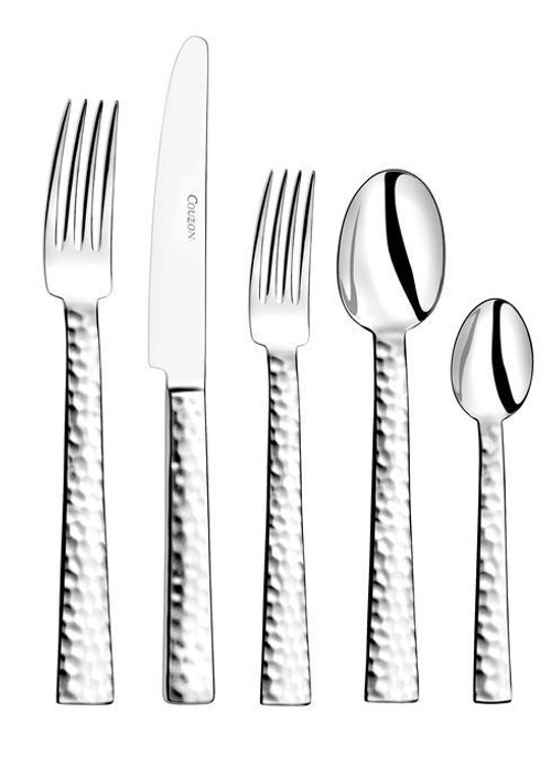 Stainless Steel Flatware Ato Hammered Five Piece Place Setting