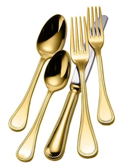 Gold Plated Flatware Le Perle Five Piece Place Setting
