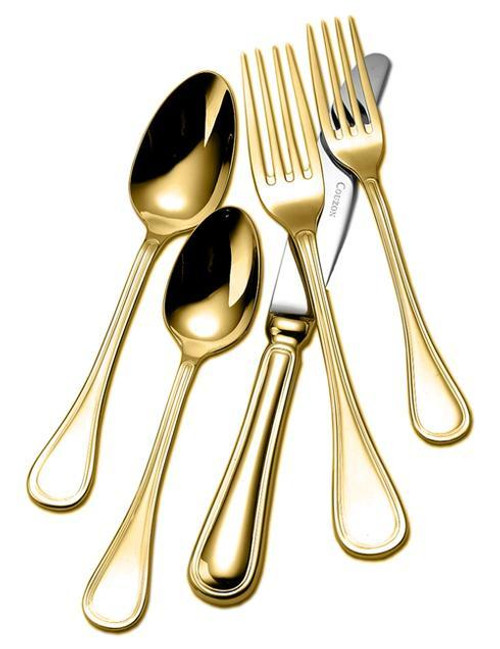 Gold Plated Flatware Lyrique Five Piece Place Setting