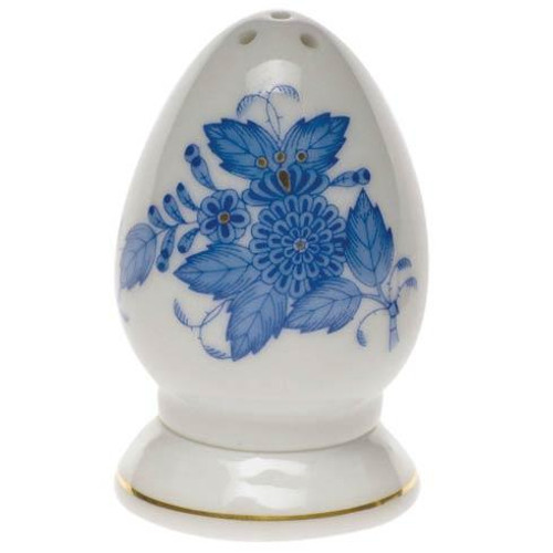 "Chinese Bouquet Blue Salt Shaker Multi Hole 2.5"" H"