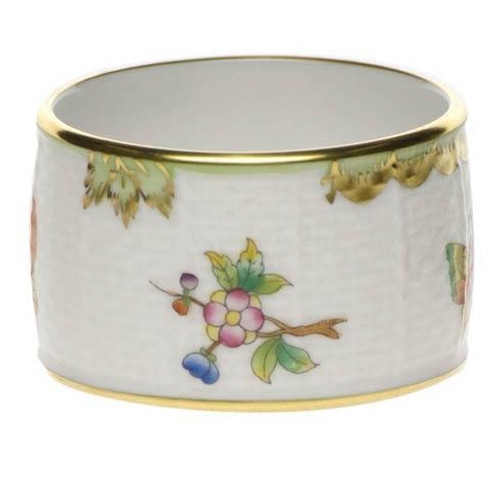 Queen Victoria Green Border Napkin Ring