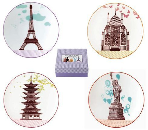 Bon Voyage Gift Box Of 4 Assorted Cocktail Plates