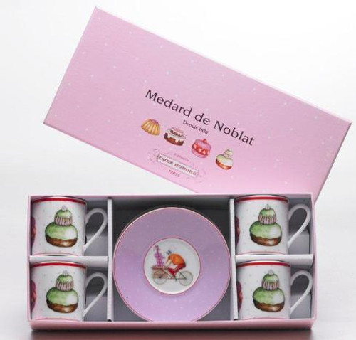 Chez Honore Gift Box Of 4 Assorted Coffee Cups And Saucers