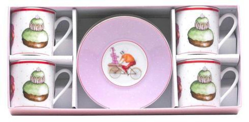 Chez Honore Gift Box Of 4 Assorted Tea Cups And Saucers