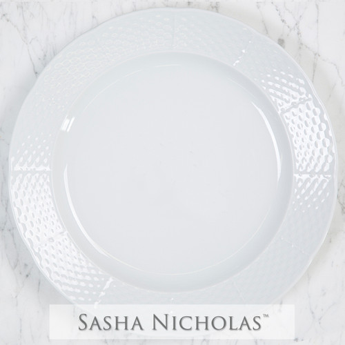 A beautiful addition to your dinnerware collection and to adorn your tablescapes with. It makes the perfect gift for your wedding registry and has the option to include an inscription on back.| Sasha Nicholas's Simply White Dinnerware