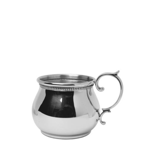 Pewter Baby Bulged Baby Cup with Scroll Handle and Beading