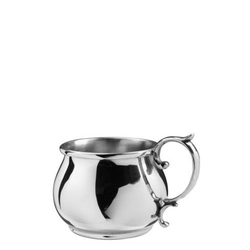 Pewter Baby Bulged Scroll Handle Baby Cup, 5 oz.