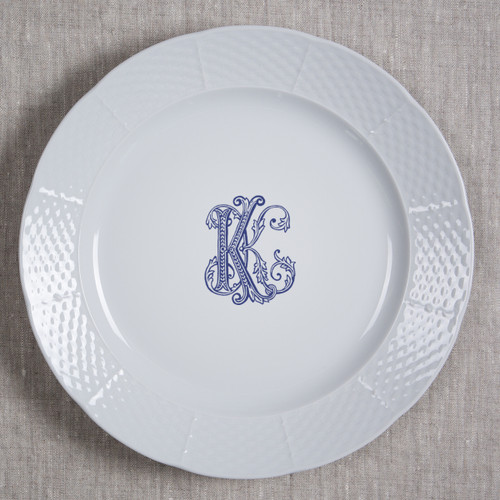 "BEHR KNIPFER WEDDING WEAVE 10.25"" MONOGRAMMED DINNER W/OPTIONAL  BACK INSCRIPTION"