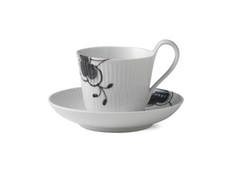 Black Fluted Mega HIGH HANDLE CUP & SAUCER # 2
