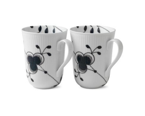 Black Fluted Mega Mug Set/2