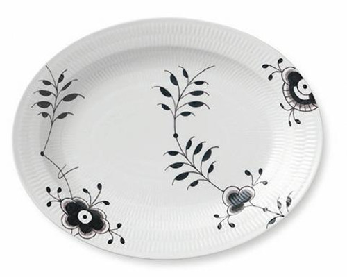 Black Fluted Mega Oval Platter 14.25""