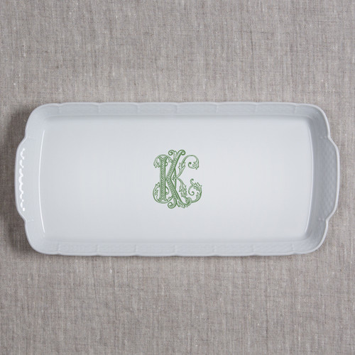 """NAEGELI-KEEFE WEDDING WEAVE 14.75X6.75"""" RECTANGULAR PLATTER WITH GREEN COUTURE K"""