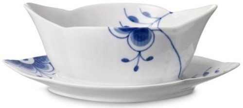 Blue Fluted Mega Gravy Boat with Stand