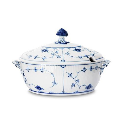 Blue Fluted Plain Covered Tureen