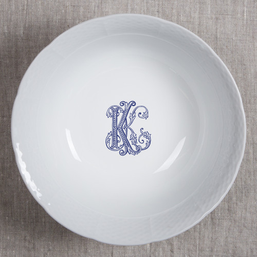 """NAEGELI-KEEFE WEDDING WEAVE 10.25""""  LG SERVING BOWL WITH NAVY COUTURE K"""