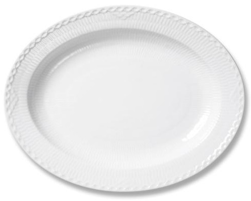 White Fluted Half Lace Oval Platter Large