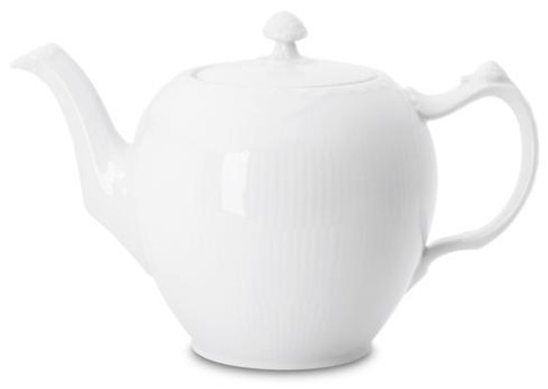 White Fluted Half Lace Teapot