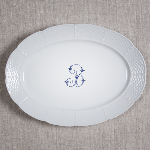 Adams-Buehler WEDDING WEAVE OVAL PLATTER- NAVY SINGLE LETTER SCRIPT-B