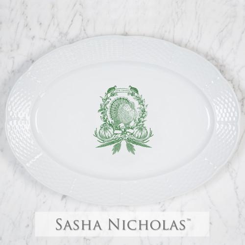 Thanksgiving Crest Weave Oval Platter