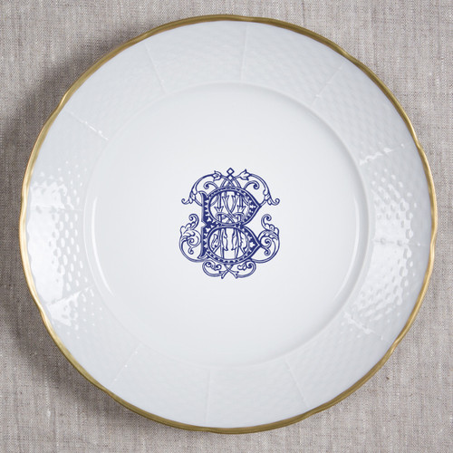 "Seanor-Burgess WEDDING WEAVE 12"" MONOGRAMMED DINNER/CHARGER 24K GOLD RIMMED WITH NAVY COUTURE B AND WEDDING DATE ON BACK"
