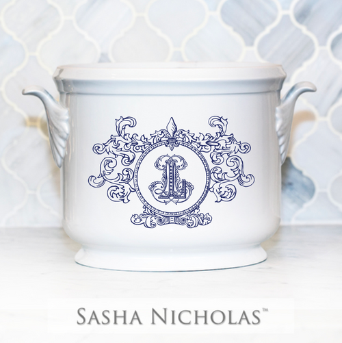 Hart-Lause WEDDING CHAMPAGNE BUCKET WITH FLEUR DE LIS CREST