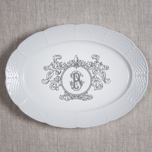 "Erhart-Pinchev WEDDING WEAVE 14"" OVAL PLATTER BLACK SINGLE LETTER COUTURE P"