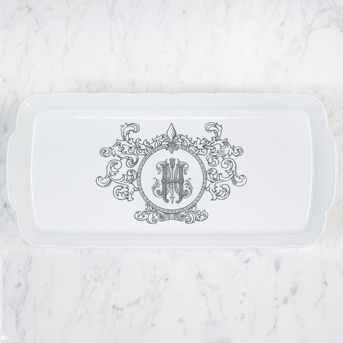 Hunt-Honaker WEDDING RECTANGLE PLATTER FLEUR DE LIS CREST