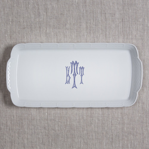 Gilbride-Teague WEDDING MONOGRAMMED WEAVE RECTANGLE PLATTER