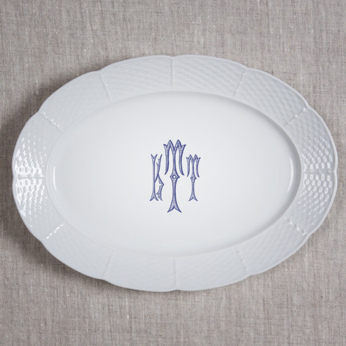 "Gilbride-Teague WEDDING MONOGRAMMED WEAVE 14"" OVAL PLATTER"