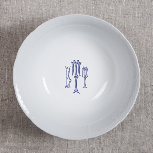 Gilbride-Teague WEDDING MONOGRAMMED WEAVE MEDIUM SERVING BOWL