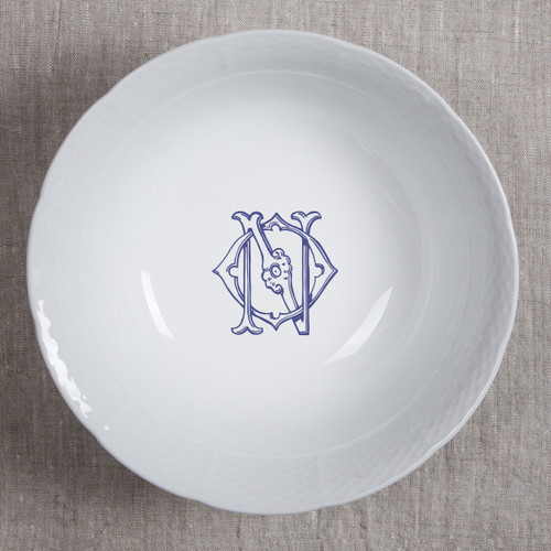 ANDERSON-O'NEIL WEDDING MONOGRAMMED WEAVE MEDIUM SERVING BOWL