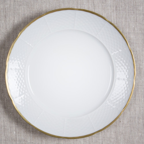 Daignault-Gaspar Wedding Weave 24K Gold Rimmed Dinner Plate