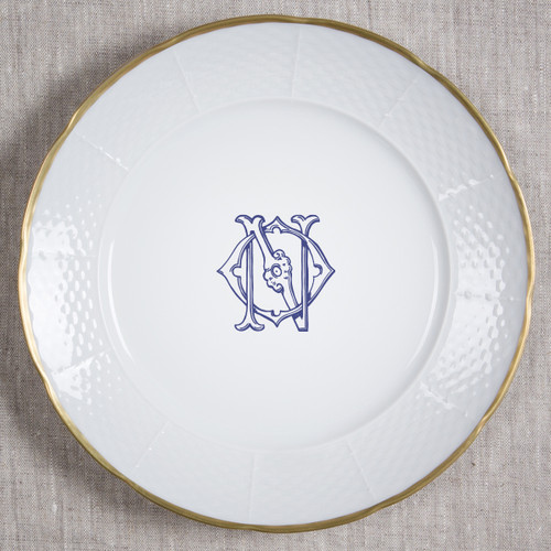 Anderson-O'neil WEDDING MONOGRAMMED WEAVE GOLD RIMMED CHARGER PLATE