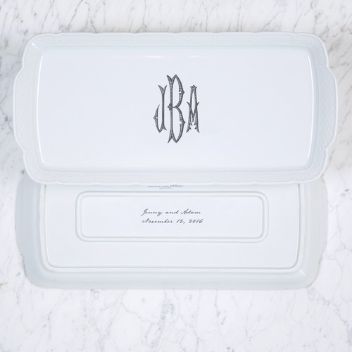 Conforti-Brcic MONOGRAMMED WEAVE RECTANGLE PLATTER