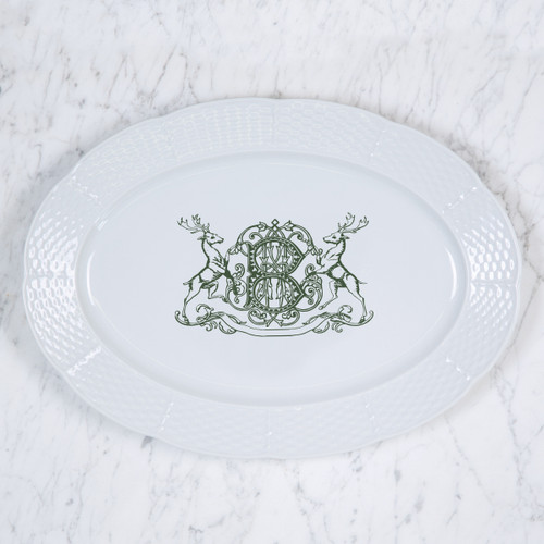 """Conforti-Brcic HOLIDAY MONOGRAMMED WEAVE 14"""" OVAL PLATTER"""