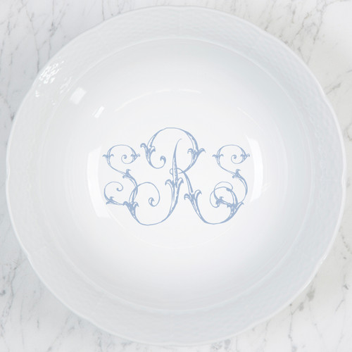 Morley-Ryan WEDDING MONOGRAMMED WEAVE LARGE SERVING BOWL
