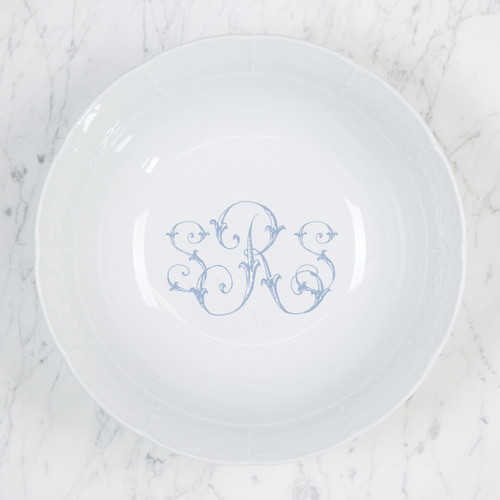 Morley-Ryan WEDDING MONOGRAMMED WEAVE MEDIUM SERVING BOWL