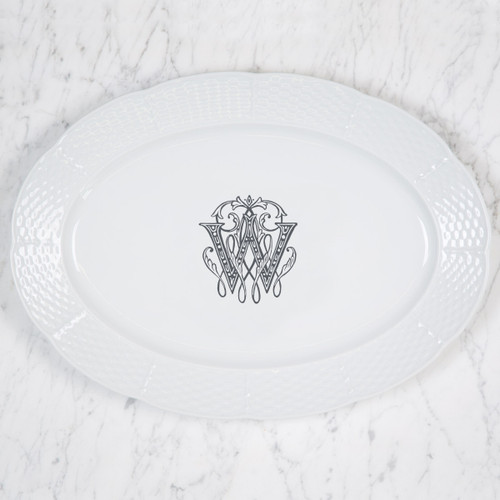 "Kearney-Wells WEDDING MONOGRAMMED WEAVE 14"" OVAL PLATTER"
