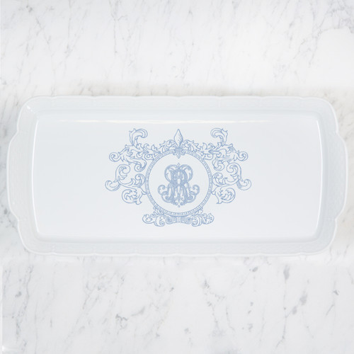 HOLLAND-RUPNIK WEDDING MONOGRAMMED WEAVE RECTANGLE PLATTER